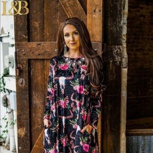 L&B Apparel Velvet Floral Bull Skull Dress